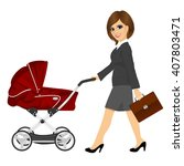 business woman with briefcase... | Shutterstock .eps vector #407803471