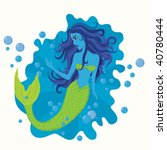 illustration with a mermaid | Shutterstock .eps vector #40780444