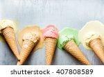 colorful ice cream cones of... | Shutterstock . vector #407808589