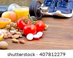 healthy diet and sports... | Shutterstock . vector #407812279