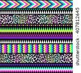 neon color tribal navajo... | Shutterstock .eps vector #407812645