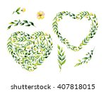 watercolor yellow flower and... | Shutterstock . vector #407818015