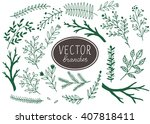 set of hand drawn branches.... | Shutterstock .eps vector #407818411