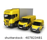 yellow delivery cars on a white ... | Shutterstock . vector #407823481