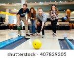 friends enjoying recreational ...   Shutterstock . vector #407829205