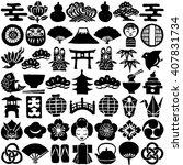 set of japanese design icons.... | Shutterstock .eps vector #407831734