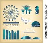 vector landmark of singapore | Shutterstock .eps vector #407832769