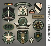 set of military and army... | Shutterstock .eps vector #407836354