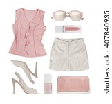 collage of summer women clothes ... | Shutterstock . vector #407840935