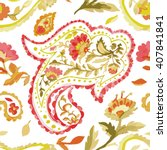 watercolor paisley seamless... | Shutterstock .eps vector #407841841