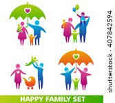 set of family icons. happy...   Shutterstock . vector #407842594