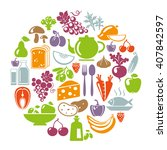 healthy food concept. circle... | Shutterstock . vector #407842597