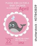 baby shower invitation greeting ... | Shutterstock .eps vector #407843839