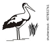 black stork illustration. heron ... | Shutterstock .eps vector #407852761