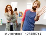 young artists in gallery... | Shutterstock . vector #407855761