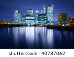 Canary Wharf is a modern business and shopping development in East London.Rivalling London's traditional financial centre. This view contains the UK's tallest building: One Canada Square - stock photo