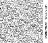 cute monochrome cats. cartoon... | Shutterstock .eps vector #407872684