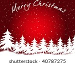 Merry Christmas - greeting card (red and white) - stock photo