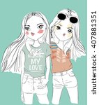 cooller girl friends | Shutterstock .eps vector #407881351