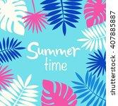 palm leaves background.... | Shutterstock .eps vector #407885887