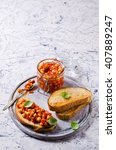 bruschetta with chickpeas and... | Shutterstock . vector #407889247