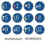 vector twelve months sticker... | Shutterstock .eps vector #407890201