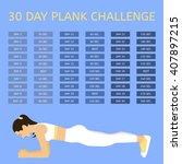 30 day plank challenge. young...   Shutterstock .eps vector #407897215