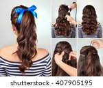 simple hairstyle pony tail on... | Shutterstock . vector #407905195