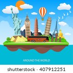 trip to world. travel to world. ... | Shutterstock .eps vector #407912251
