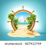 wonderful tropical landscape... | Shutterstock . vector #407912749