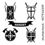 set of medieval shields swords...   Shutterstock .eps vector #407916349