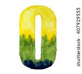 hand painted watercolor number... | Shutterstock . vector #407929555