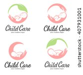 set of logos of child care ...