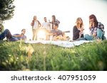 group of friends having pic nic ... | Shutterstock . vector #407951059