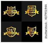 set of gold shield different... | Shutterstock .eps vector #407951944