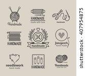 handmade line vintage logo set. ... | Shutterstock .eps vector #407954875