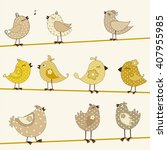 set of cute stylized birds | Shutterstock .eps vector #407955985