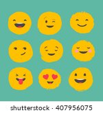 hand drawn emoticons  colorful... | Shutterstock .eps vector #407956075