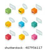 isometric emoticons  emoji... | Shutterstock .eps vector #407956117