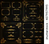 vector set of gold decorative... | Shutterstock .eps vector #407957995