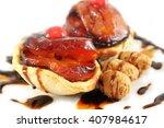tarte tatin mini with caramel... | Shutterstock . vector #407984617