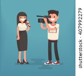 girl correspondent with a... | Shutterstock .eps vector #407992279