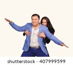 man and woman with funny faces... | Shutterstock . vector #407999599