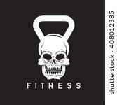 skull in the form of kettlebell ... | Shutterstock .eps vector #408012385
