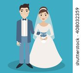 bride and groom characters... | Shutterstock . vector #408032359