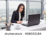 young business woman with... | Shutterstock . vector #408033184