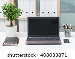 office workplace with notebook... | Shutterstock . vector #408033871