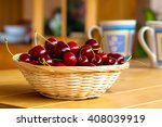 wicker basket with fresh sweet... | Shutterstock . vector #408039919