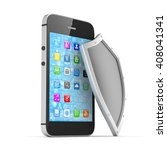smartphone and shield on white  ... | Shutterstock . vector #408041341