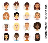 Set Of Diverse Round Avatars...